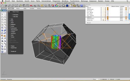 konstruktion und simulation des kamerakörpers in rhino3D, zu sehen sind auch die strahlengänge und abbilder auf dem fotozylinder.