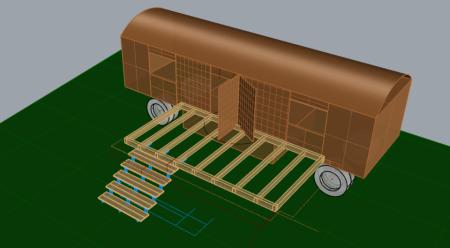 Leichte Draufsicht, Tragrahmen, Treppenwangen, Auftritte fertig konstruiert in Rhino3D.