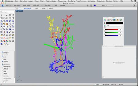 zur Visualisierung und Simulation importiere ich die einzelnen Teile und erstelle ein Modell in Rhino3D.